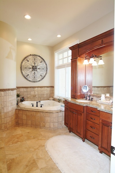 Tile and wood bathroom
