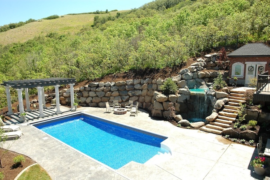 Outdoor swimming pool and patio